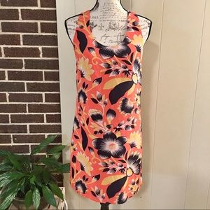 J. CREW Size 0 Coral Floral Sleeveless Sundress